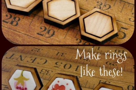 3 Mini wood Hexagon Ring Blanks - Craft Supply Jewelry hexies