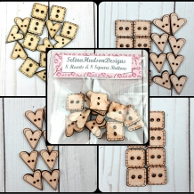 16 Buttons of hearts & squares - Cute, Happy, Adorable wood supply supplies sewi