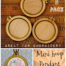 3 Mini Hoop Pendant Embroidery Blanks - wood Frame Necklace Craft Supply Jewelry