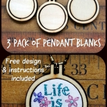 3 Teeny tiny Mini Hoop Pendant Embroidery Blanks - 3 pack Frame Necklace Craft S