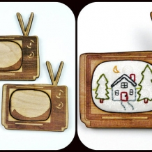 2 Retro TV Pin Embroidery Blanks