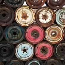 Junk Yard Colorful Car Rims photo - 8 x 10 frame Print Art Photography Rusty Aut