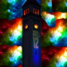 Star Night Colorful ClockTower - 8 x 10 frame Print Art Photography SeaHawks