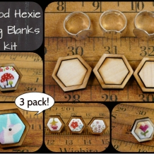 3 Mini wood Hexagon Ring Blanks - Craft Supply Jewelry hexies